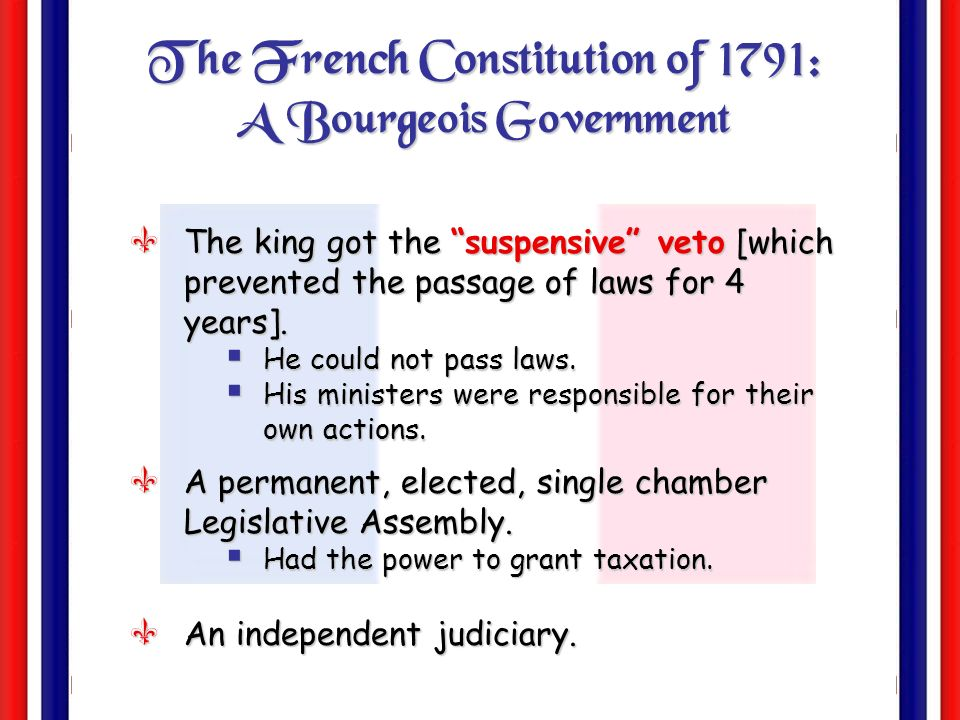 The French Constitution of 1791: A Bourgeois Government