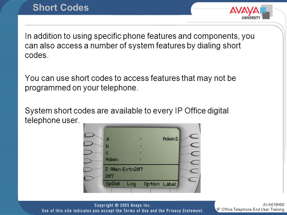 Welcome to the AVA619H00 IP Office Telephone End-User Training - ppt