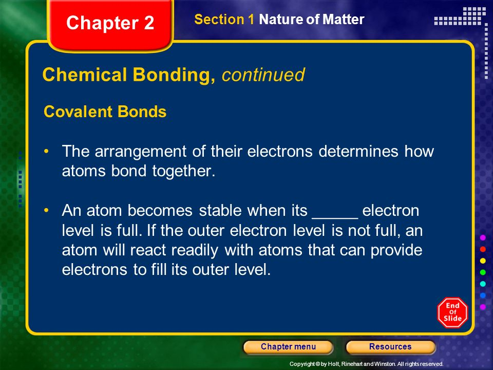Chemical Bonding, continued