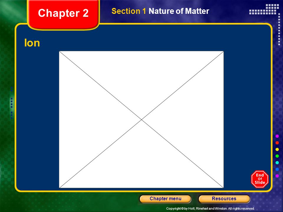 Chapter 2 Section 1 Nature of Matter Ion