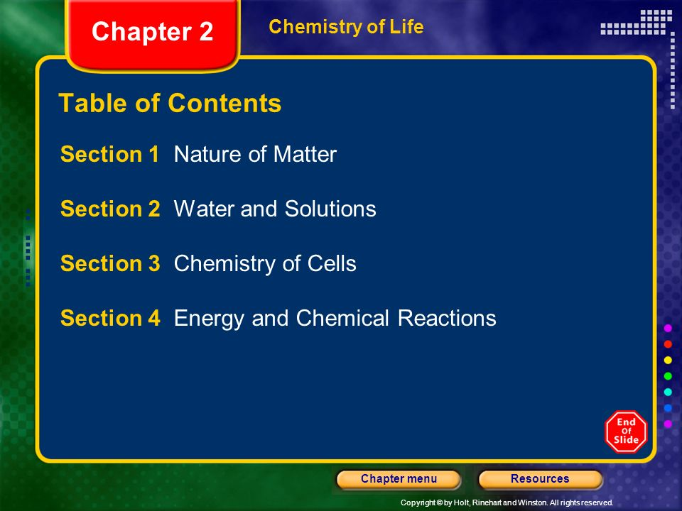 Chapter 2 Table of Contents Section 1 Nature of Matter