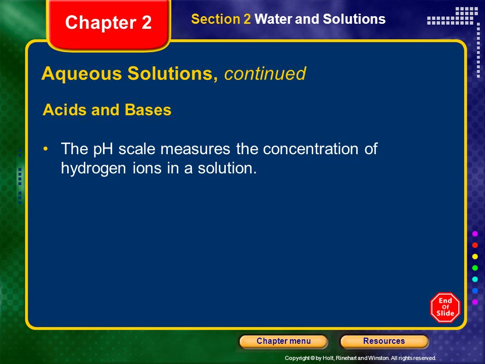 Aqueous Solutions, continued