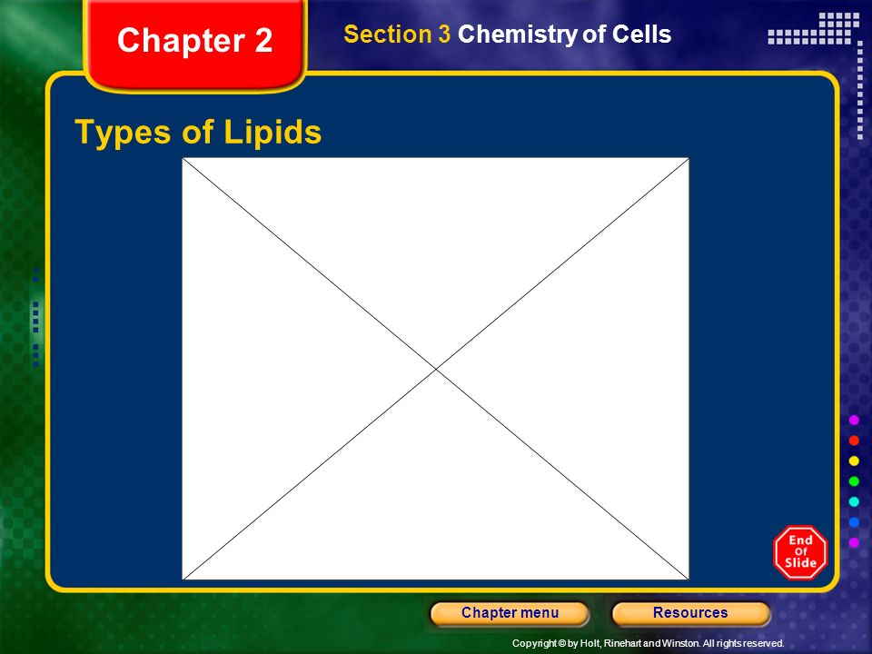 Chapter 2 Section 3 Chemistry of Cells Types of Lipids