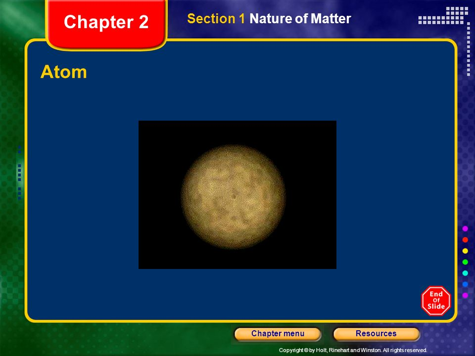 Chapter 2 Section 1 Nature of Matter Atom