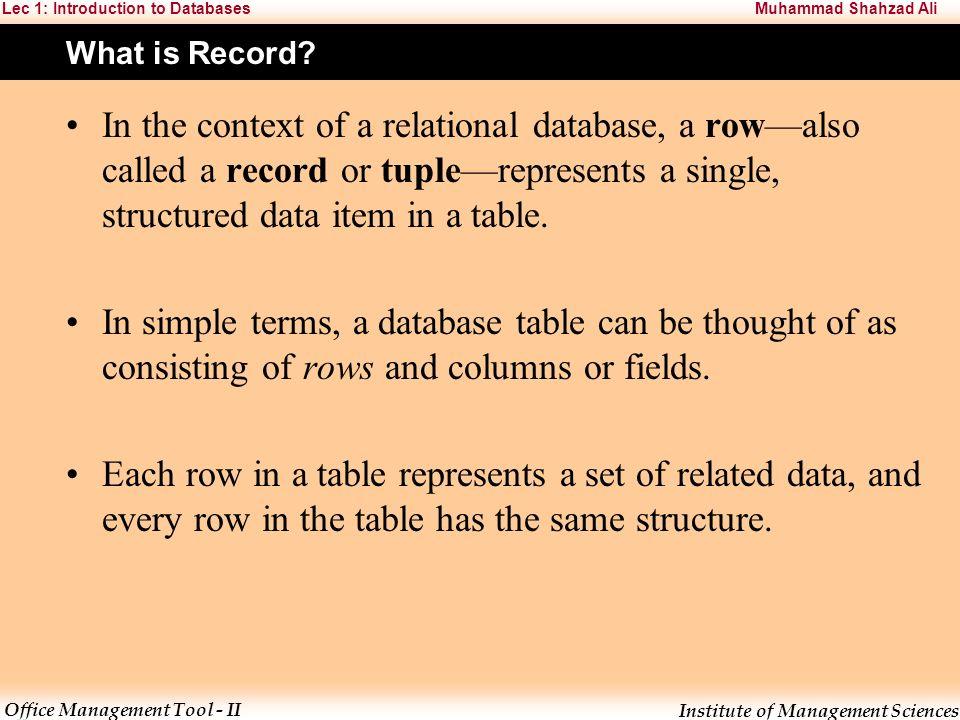 1 Introduction To Database Management System L E C T U R E Ppt
