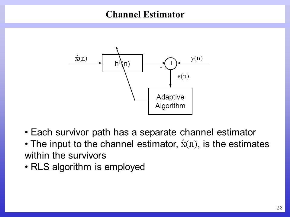 Each survivor path has a separate channel estimator