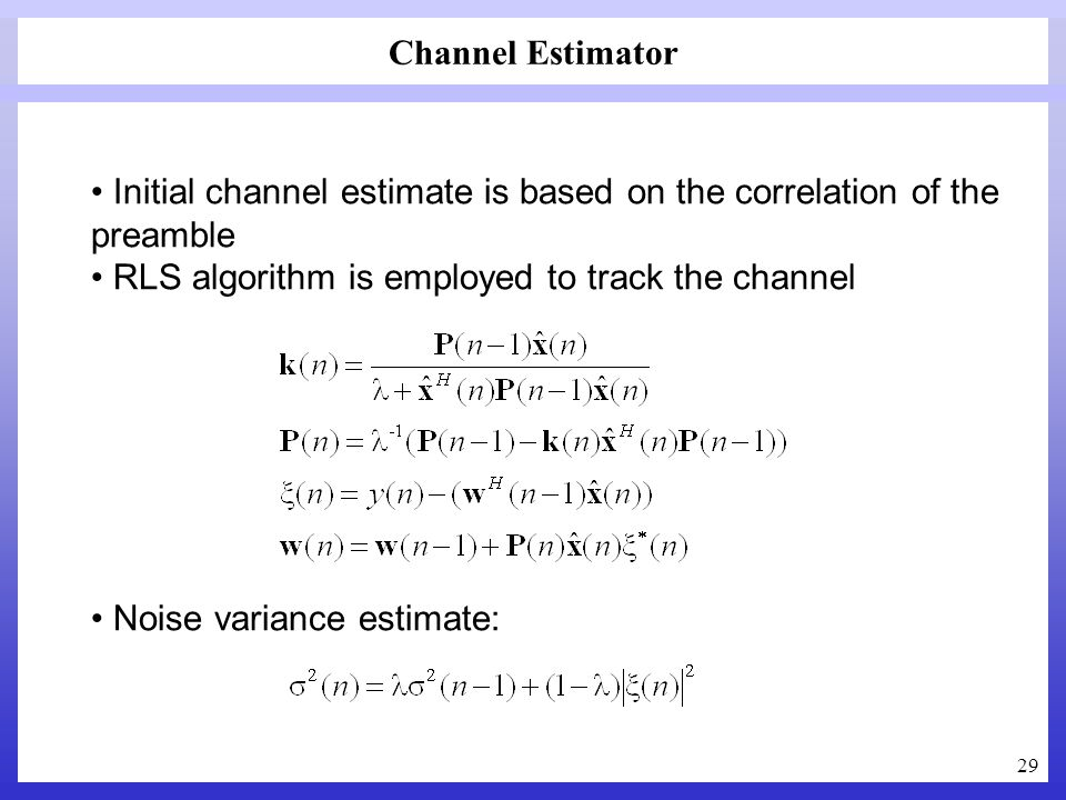 Channel Estimator Initial channel estimate is based on the correlation of the preamble. RLS algorithm is employed to track the channel.