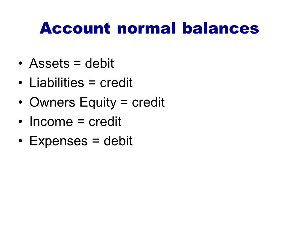 Account normal balances