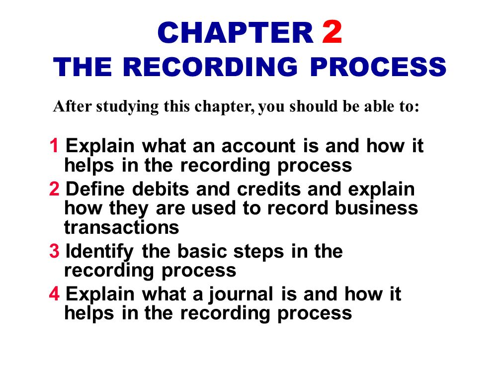CHAPTER 2 THE RECORDING PROCESS