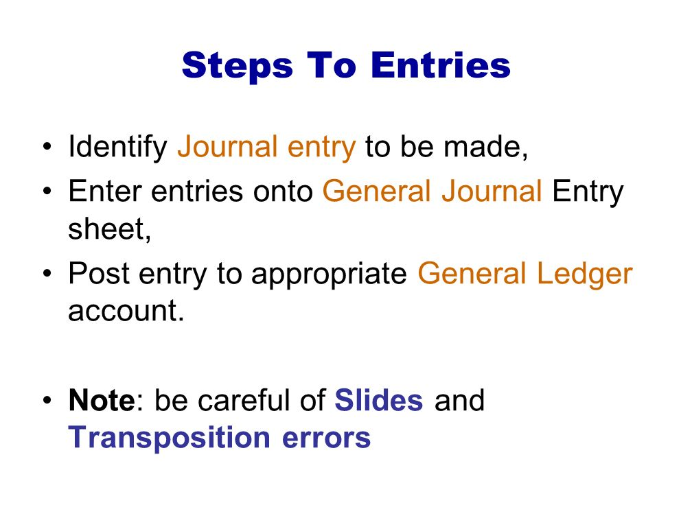 Steps To Entries Identify Journal entry to be made,