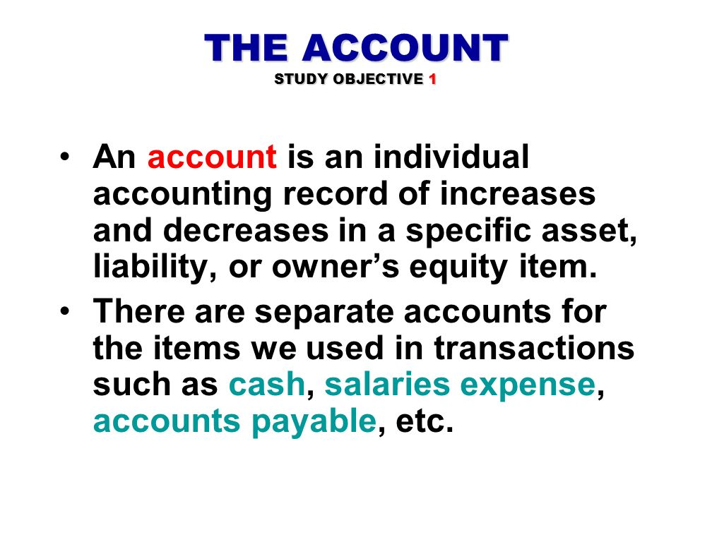 THE ACCOUNT STUDY OBJECTIVE 1