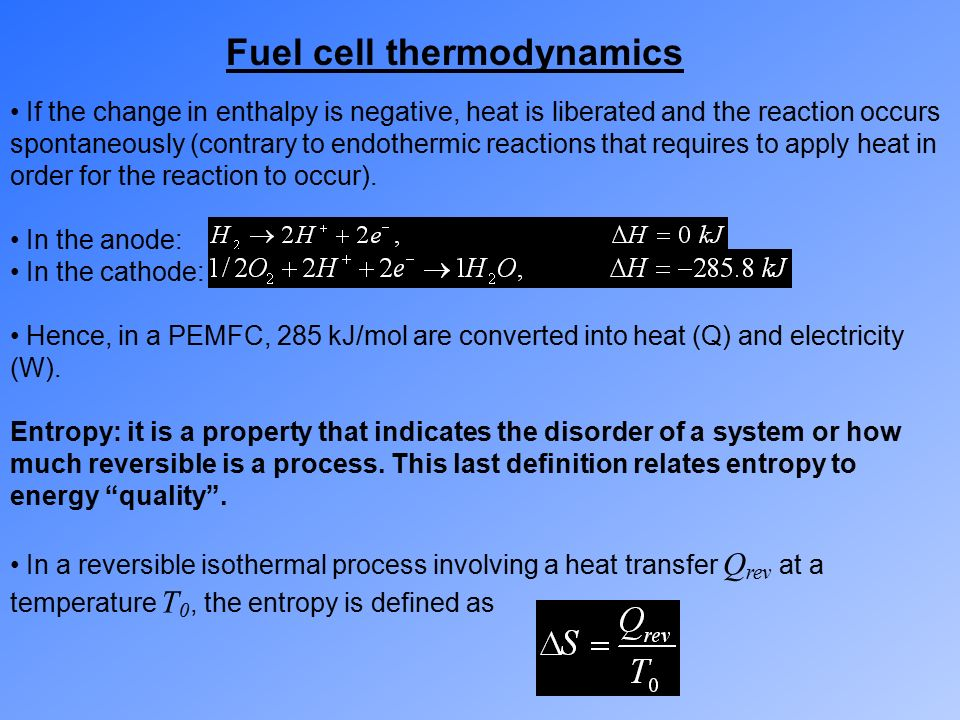 Fuel Cell Thermodynamics - ppt video online download