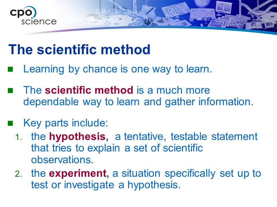 The scientific method Learning by chance is one way to learn.