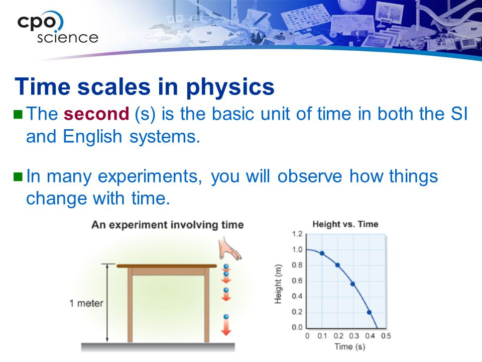 Time scales in physics The second (s) is the basic unit of time in both the SI and English systems.