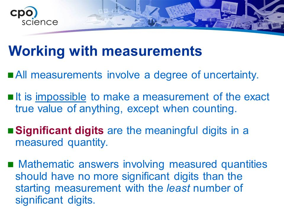 Working with measurements