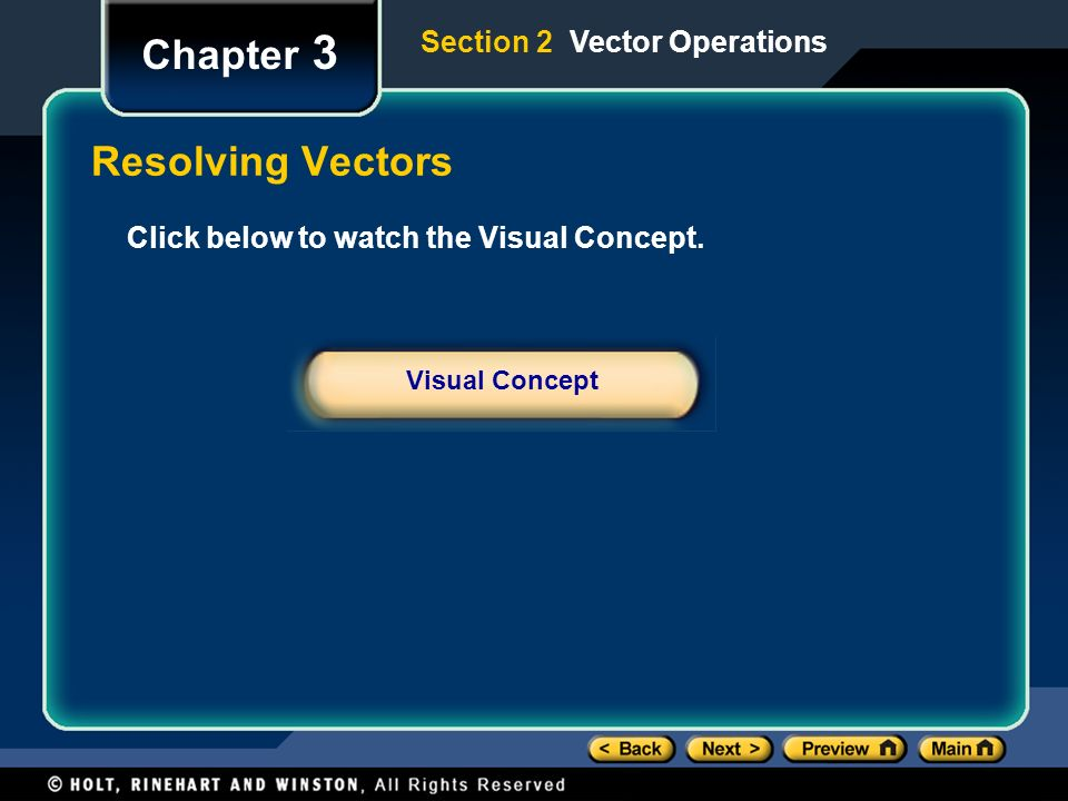 Chapter 3 Resolving Vectors Section 2 Vector Operations