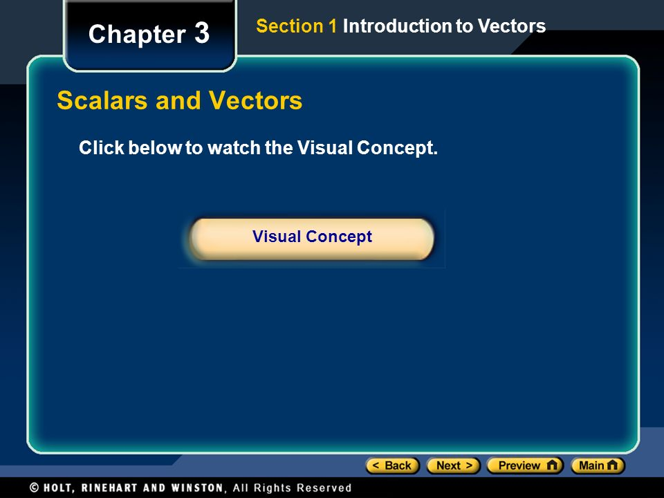 Chapter 3 Scalars and Vectors Section 1 Introduction to Vectors