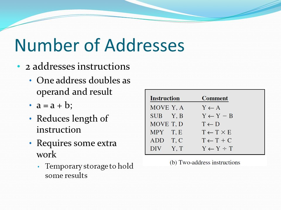 Number of Addresses 2 addresses instructions