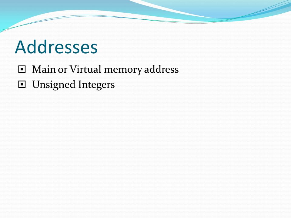 Addresses Main or Virtual memory address Unsigned Integers