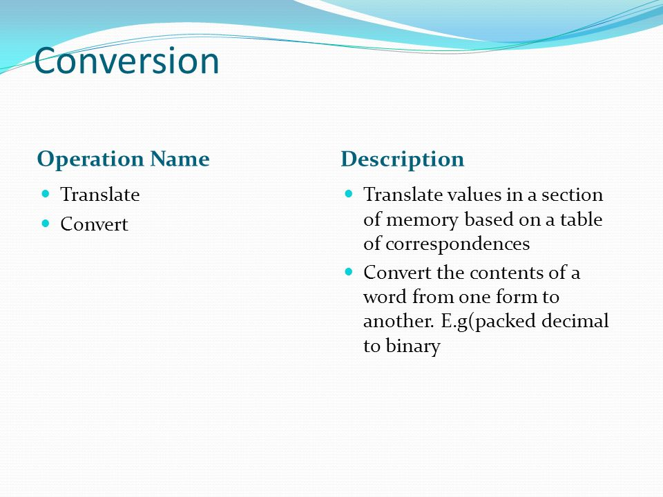 Conversion Operation Name Description Translate Convert