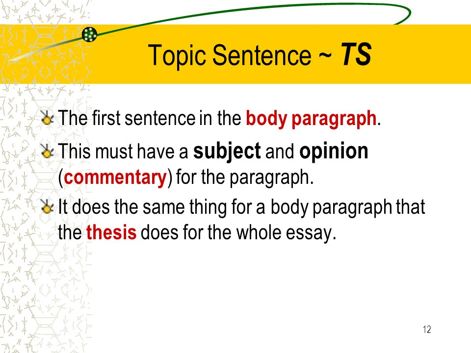 Topic Sentence ~ TS The first sentence in the body paragraph.