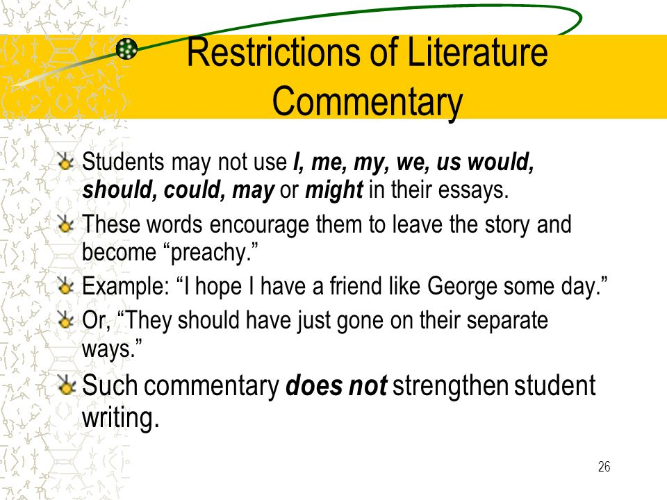 Restrictions of Literature Commentary