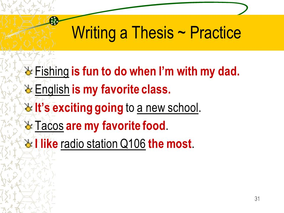 Writing a Thesis ~ Practice