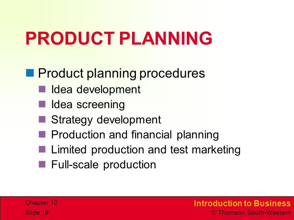 PRODUCT PLANNING Product planning procedures Idea development