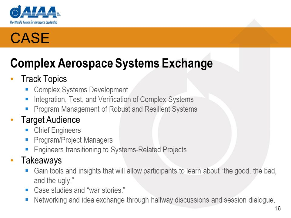 CASE Complex Aerospace Systems Exchange Track Topics Target Audience