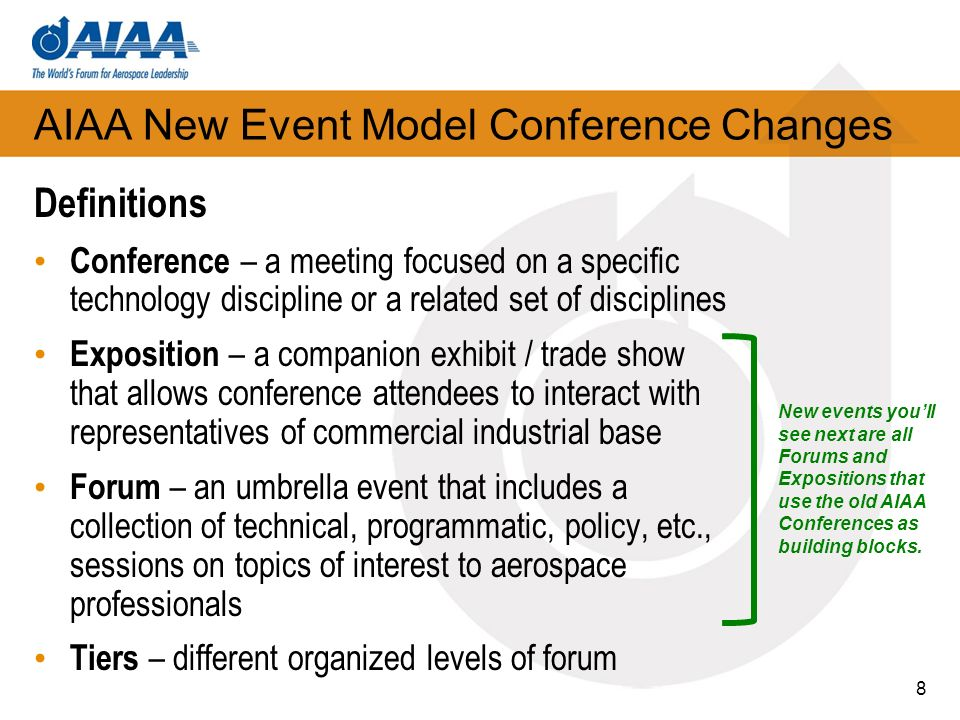 AIAA New Event Model Conference Changes