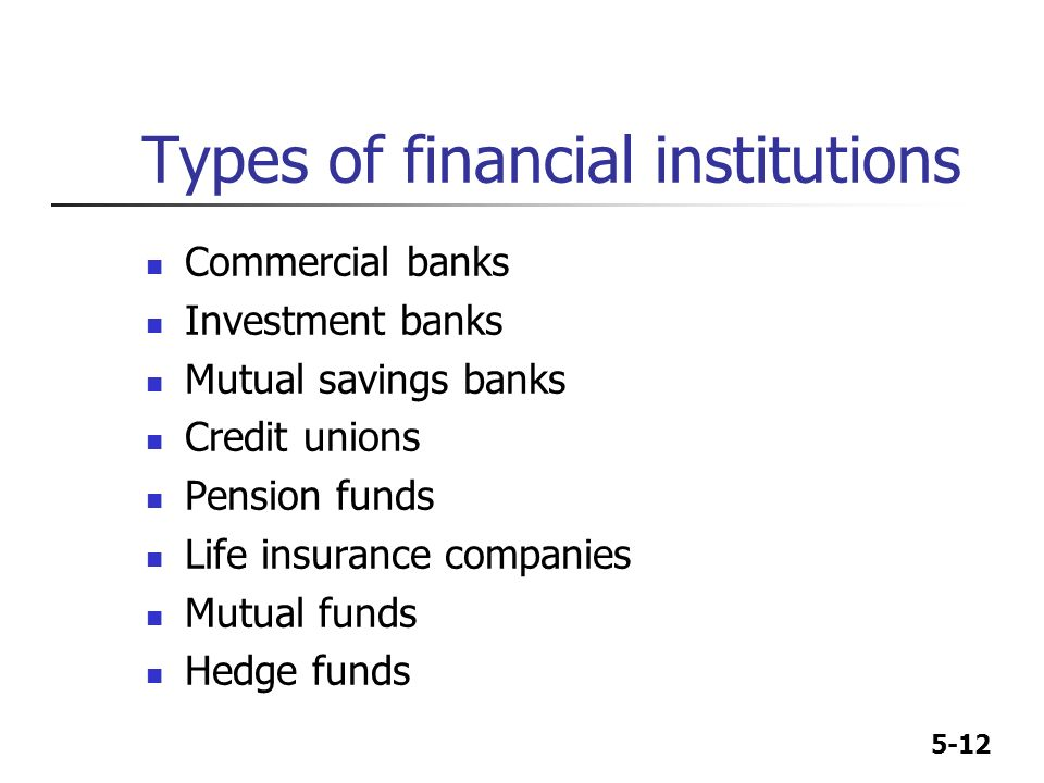 kinds of financial institutions