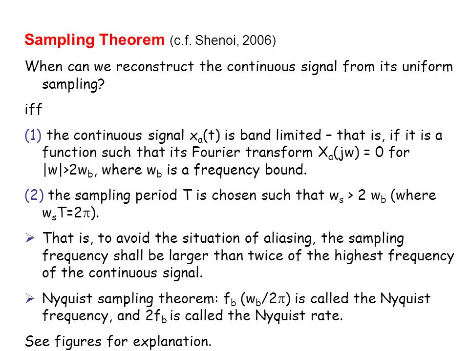 Sampling Theorem (c.f. Shenoi, 2006)
