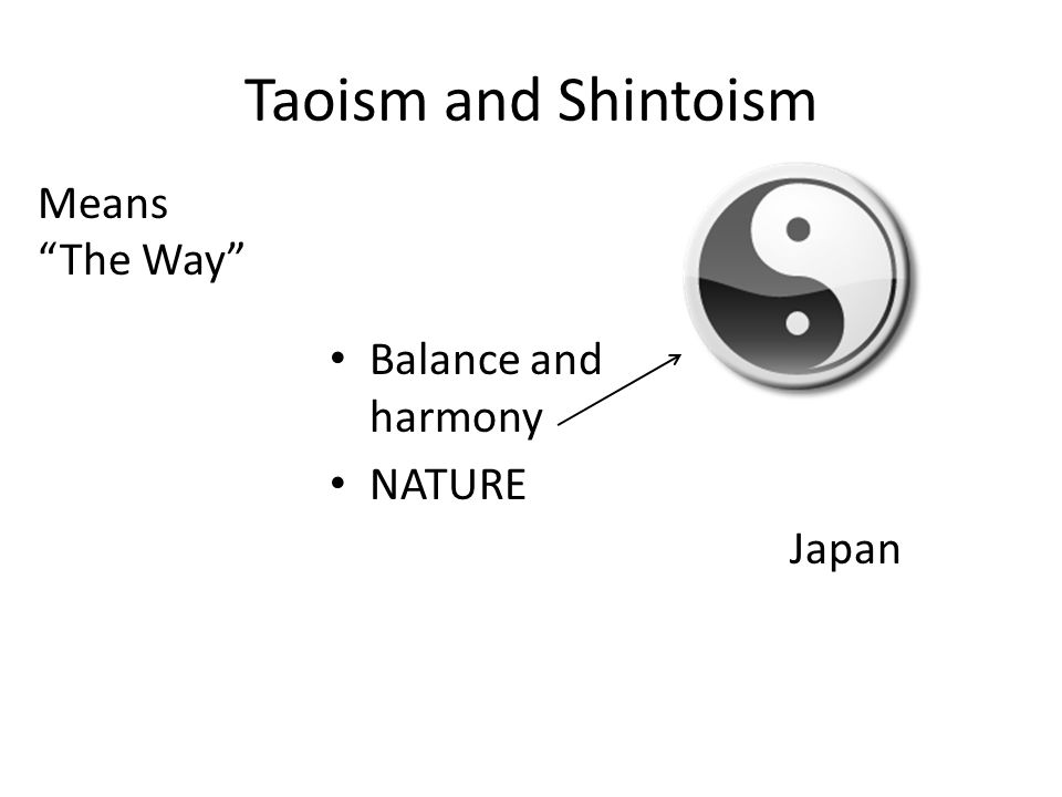 Taoism and Shintoism Means The Way Balance and harmony NATURE Japan