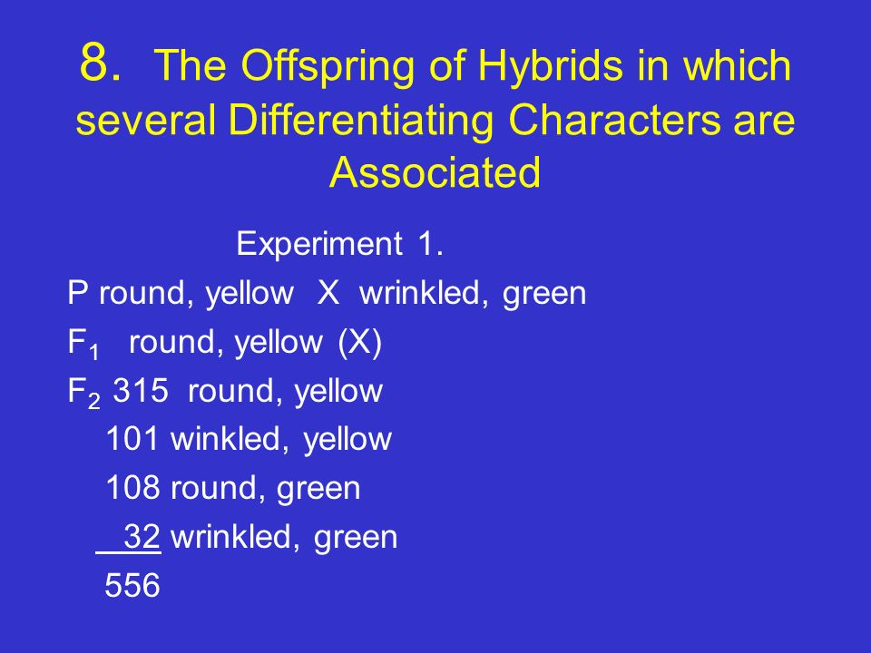 8. The Offspring of Hybrids in which several Differentiating Characters are Associated