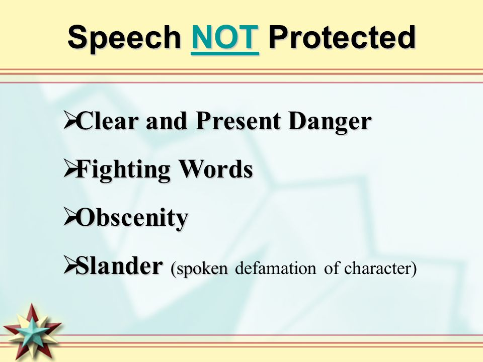 Speech NOT Protected Clear and Present Danger Fighting Words Obscenity