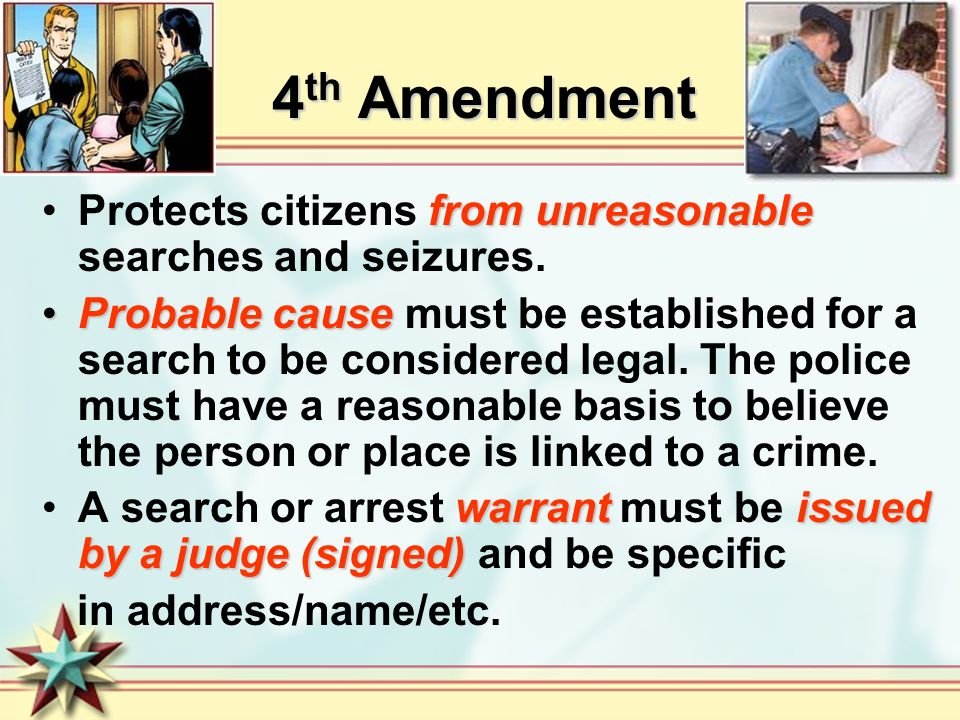 4th Amendment Protects citizens from unreasonable searches and seizures.