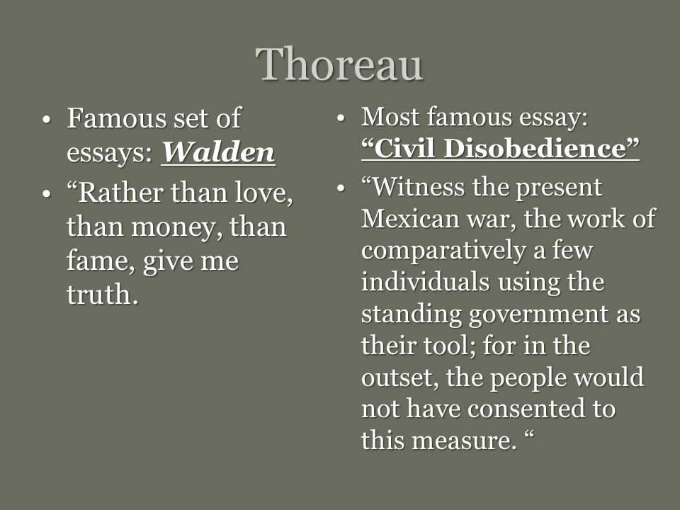 Emerson Thoreau And The Advent Of Transcendentalism  Ppt Video  Thoreau Famous Set Of Essays Walden Writing Services In Chicago also Critical Essay Thesis Statement  Argumentative Essay Topics For High School