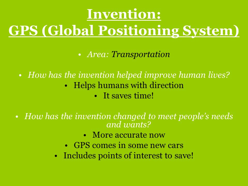 Invention: GPS (Global Positioning System)