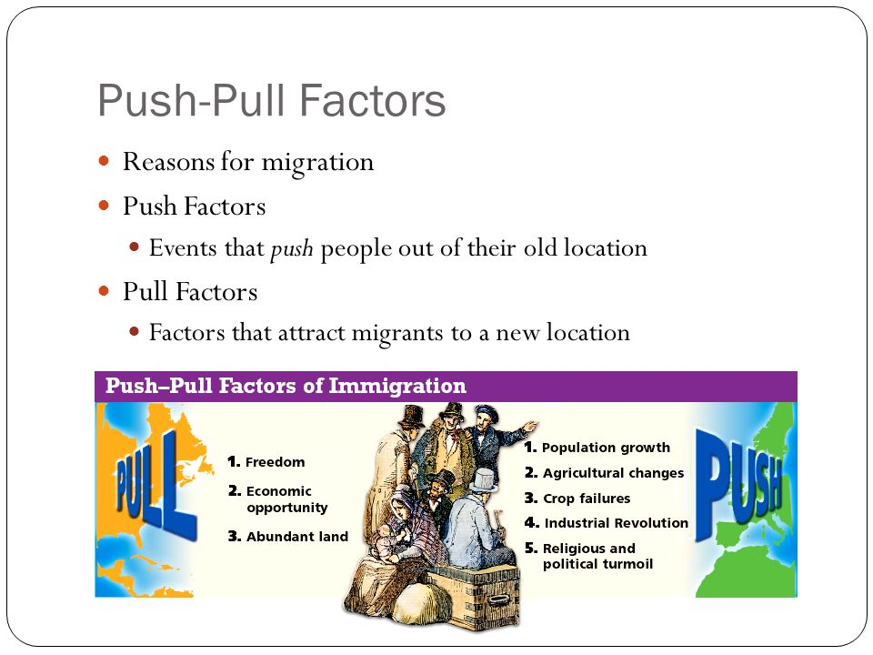 environmental push and pull factors examples