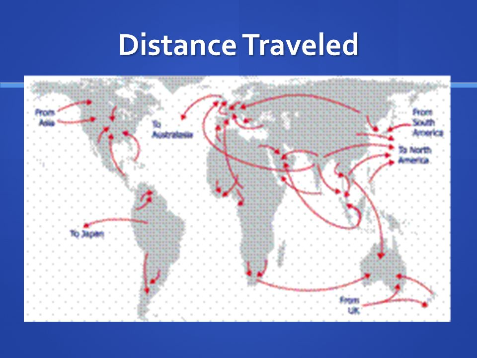 Distance Traveled Ravenstein's theories made two points about the distance that migrants travel to their home: