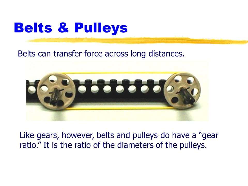 Belts & Pulleys Belts can transfer force across long distances.