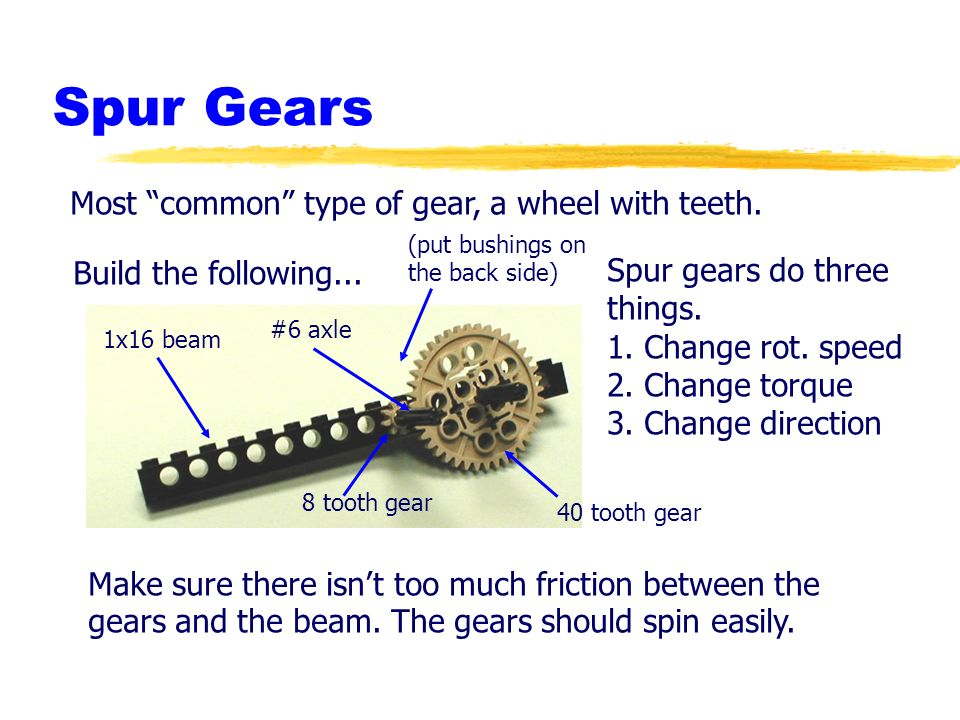 Spur Gears Most common type of gear, a wheel with teeth.