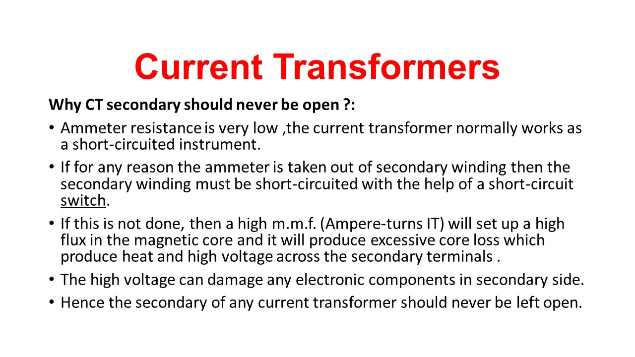 Instrument Transformers Ppt Video Online Download Ammeter Wiring Diagram With Ct Current Why Secondary Should Never Be Open