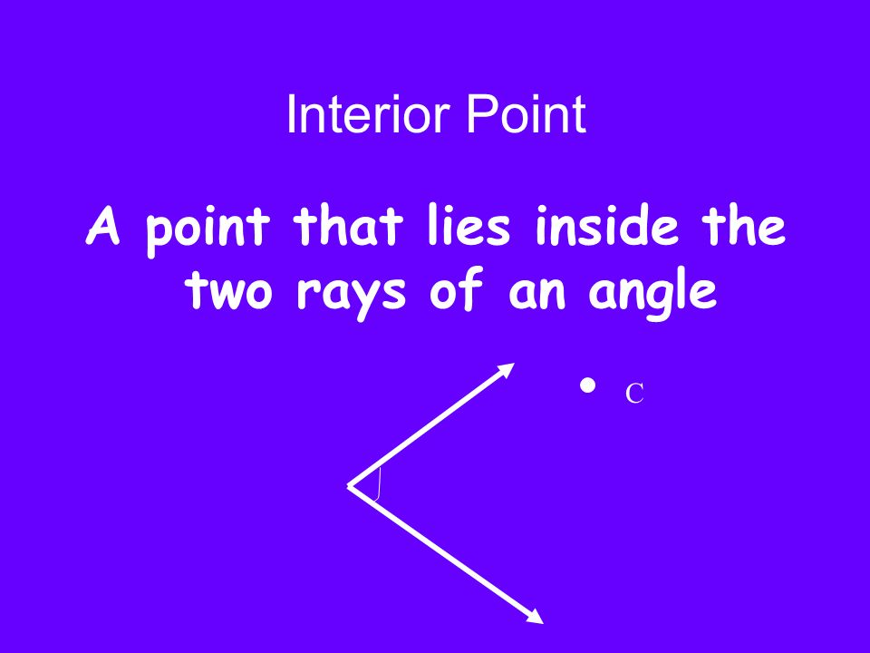 A point that lies inside the two rays of an angle