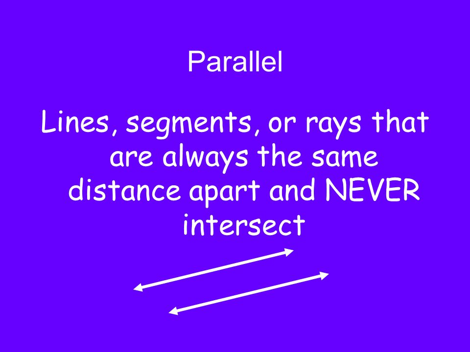 Parallel Lines, segments, or rays that are always the same distance apart and NEVER intersect