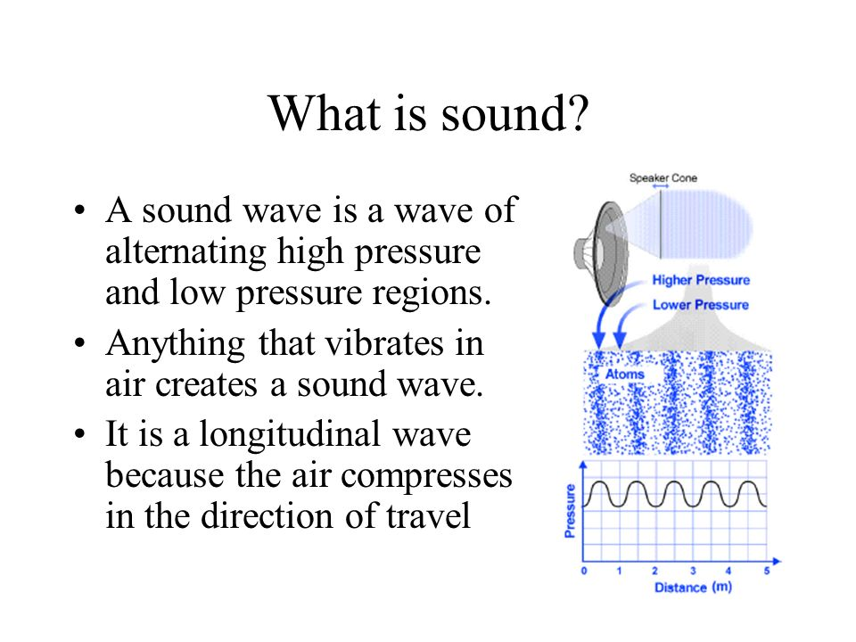 What is sound A sound wave is a wave of alternating high pressure and low pressure regions. Anything that vibrates in air creates a sound wave.