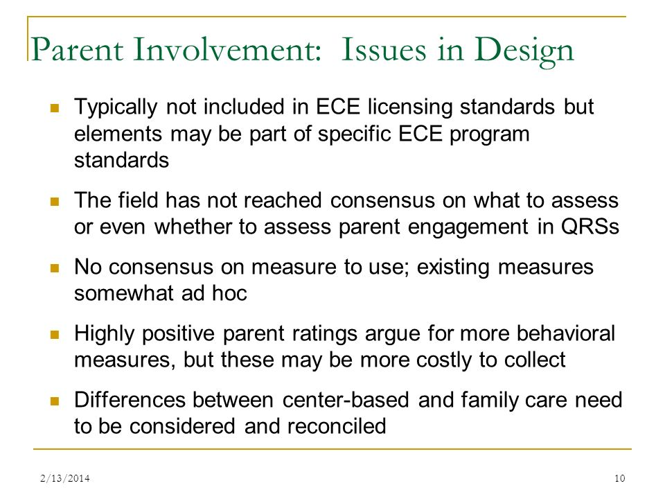 Parent Involvement: Issues in Design