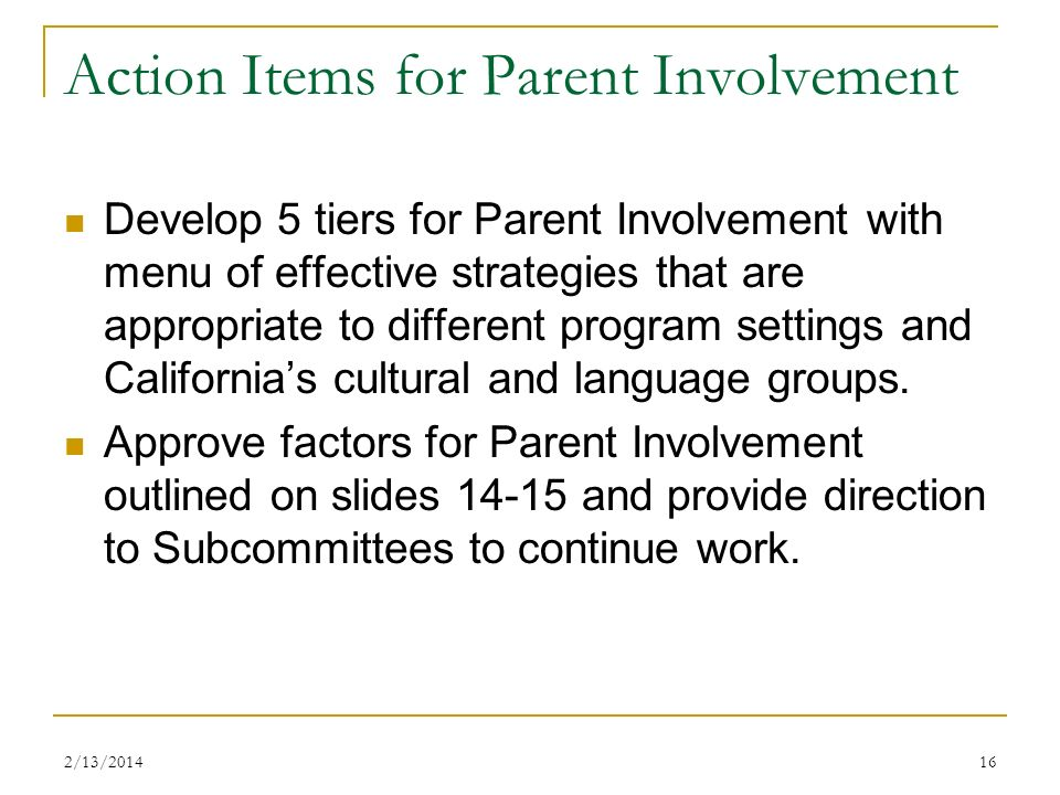Action Items for Parent Involvement