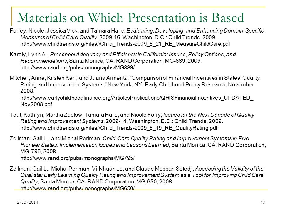 Materials on Which Presentation is Based