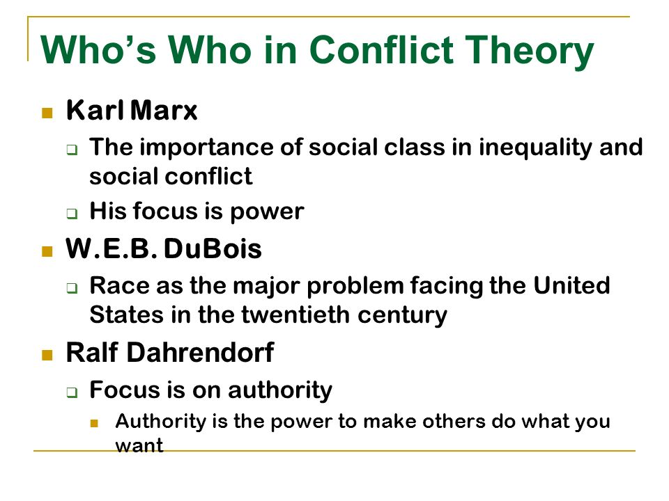 overview of race conflict theories Conflict theory is the theory that human behavior in social contexts is the result of conflicts between competing groups, as different social groups, be they class-, gender- or race-defined, have unequal power and access to power, yet all groups compete for limited resources.
